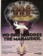 """""""GUITARE MARAUDER by GIBSON"""" Annonce originale entoilée années 70 25x30cm"""