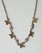 Beautiful Enamel Rhinestone Cloisonne Bead Dogwood Flower Necklace