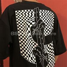 Korea ulzzang original finger letters printed thin short sleeves Black T-shirt
