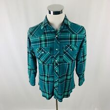 Vintage Wrangler Plaid Wool Blend Western Pearl Snap Shirt Mens Medium M