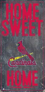 """St. Louis Cardinals Home Sweet Home Wood Sign NEW 6"""" x 12"""" Wall Decoration Gift"""