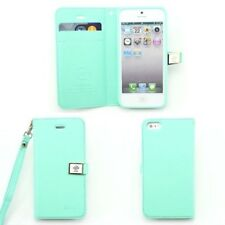 Mint Green Fashion Leather Credit Card Flip Wallet Case Cover For iPhone 4 4S