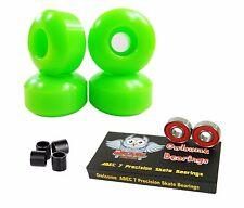 Blank Pro 52mm 99a Neon Green Skateboard Wheels + Owlsome ABEC 7 Bearings