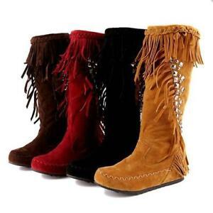 Fringe Tassel Womens Rivet Flat Moccasin Mid-Calf Knee Boots Hidden Wedge Suede@