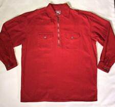 Malboro Shirt Red Corduroy 1/2 Zip Pullover Mens Size Medium