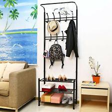 Entryway Hall Tree Hat Hooks Coat Rack with 3-Tier Shoe Shelf Hangers & Bench Z
