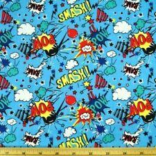 100% Cotton Fabric Blue Super Hero Smash Bang Pow Sound Effects 150cm Wide