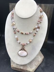 Barse Eleanor Necklace- Two Strand- Mixed Stones & Copper- NWT