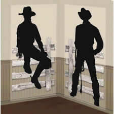 Silhouette Cowboy Scene Setter Wild Western Party Wall Decorating Kit Fence ~2pc