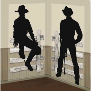 Silhouette Cowboy Scene Setter Wild Western Party Wall Decorating Kit Fence Hat
