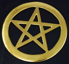 Four Inch Brass Pentagram   -Cut out design - Durable solid metal -