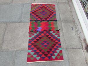 Vintage HandMade Traditional Oriental Cotton Red Pink Kilim saddle Bag 136x60cm