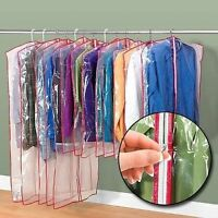 Clear Zippered Garment Bags  Suits  Dresses protective storage Wardrobe clothes