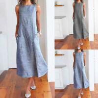 Women Casual Striped Sleeveless Dress Crew Neck Linen Pocket Long Loose Dress UK