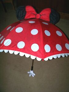 New Disney Parks Minnie Mouse Umbrella ~ Red White Polka-Dots ~ Ears ~