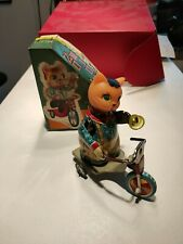 Red China Tin Toy Cat Wind Up With Box mechanical