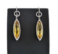 14K White Gold Citrine Diamond Drop Earrings