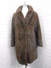 Vintage 1950s marrón brillante larga señoras abrigo de piel de visón Castor Retro Real 14/16