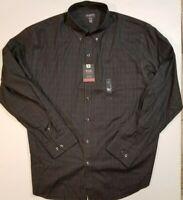 Van Heusen Mens Non-Iron Black Striped Button Down Long Sleeve Dress Shirt NWT