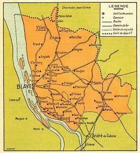 BORDEAUX WINE MAP: Carte du Blayais et du Bourgeais;1939