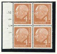 BRD Heuss Mi-Nr. 178x als Viererblock Bogenzählnummer - Bogennummer