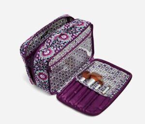 NEW VERA BRADLEY Large Blush Brush LILAC MEDALLION Cosmetic Makeup Bag $60