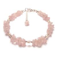Rose quartz and pearl bracelet Sterling silver pink chips gem stone gemstone