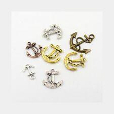 Wholesale Lot 50 Mixed Metal Alloy Gold Silver Copper Nautical Anchor Pendants