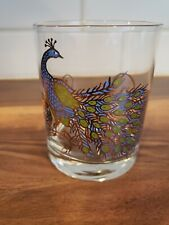 """New listing Mcm Couroc Peacock Retro Gold Lowball Whiskey Bar Rocks Cocktail 4"""" Rare"""