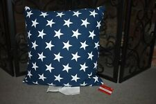 AMERICANA DECORATIVE THROW PILLOW - STARS - BLUE & WHITE