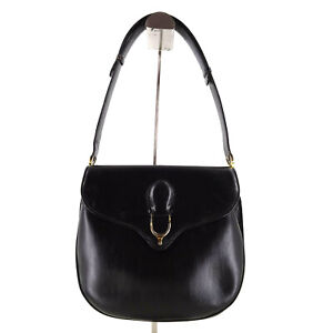 Gucci Vintage Classic Elegant Leather Shoulder Bag in Black - Made in Italy Y2K