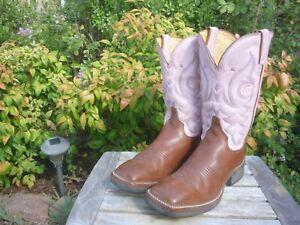 Women's 9.5 B Justin AQHA Tekno Crepe Brown & Pink Square Toe Cowboy Boots L7011