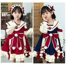 Girls Lolita Dress Kids Lace Ruffle Bowknot Cute Dress Princess Medieval Costume