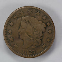 1827 1c CORONET HEAD LARGE CENT, EARLY COPPER COIN LOT#N446
