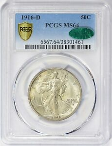 """1916 D  Walker Half PCGS MS 64 """"CAC"""" Stickers FREE SHIPPING US ONLY"""
