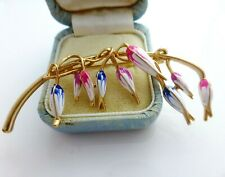 Flower brooch white blue pink enamel vintage style fuchsia floral pin