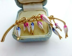 Flower brooch white blue pink enamel vintage style fuchsia floral in gift box