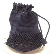 Vintage Blue Knit Drawstring Purse w Translucent Amber Plastic Bakelite Bottom