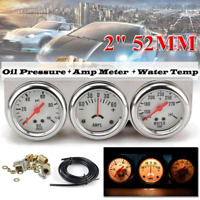Oil Pressure + Water Temp + Amp Meter Triple Gauge kit Set White Face Car meter
