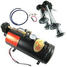 12V 150PSI 3 Liter Air Compressor With 4 Trumpet Air Horn Truck Train On Board