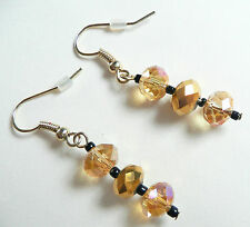 Clear & Mirror Amber Beads Accessorize Drop Earrings_Top Quality Highly Faceted