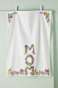 NWT Anthropologie Nathalie Lete Embroidered MOM Dish Towel