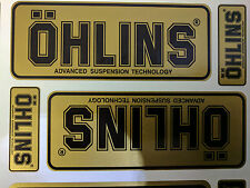 4x Ohlins Gold & Black Decals Stickers Suspension, Bike, Shock, motorcycle STUNT