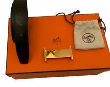 Hermes Paris  Mens Classic Reversible Belt Gold H Made In France 100 Cm RRP £750