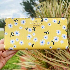 Kate Spade Staci Darcy Fleurrt Large Slim Bifold Yellow Floral Wallet