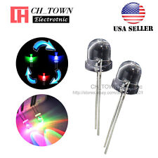 50pcs 10mm Rainbow Water Clear RGB Fast Flash Flashing LED Diodes USA
