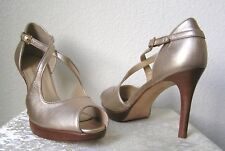 Talbots - NEW Peep Toe Strappy Pump Heels Light Gold 8B