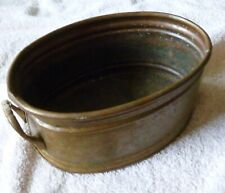 "Vintage Brass Planter with Handles 7"" x 4 3/4"" x 3"""