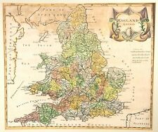 ORIGINAL HAND COLOURED ROBERT MORDEN MAP OF ENGLAND AND WALES 1695
