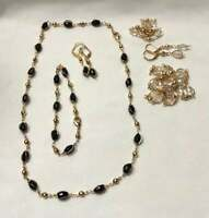Gold Plated Beaded Necklace Jewelry Set 3 Pc. Set Necklace, Earrings & Bracelet